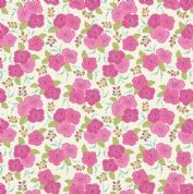 Lewis & Irene Island Girl - 5306 - Cerise Hibiscus Floral on White - A192.3 - Cotton Fabric